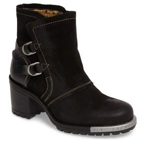 New Fly London Black Lory Ankle Boots 38